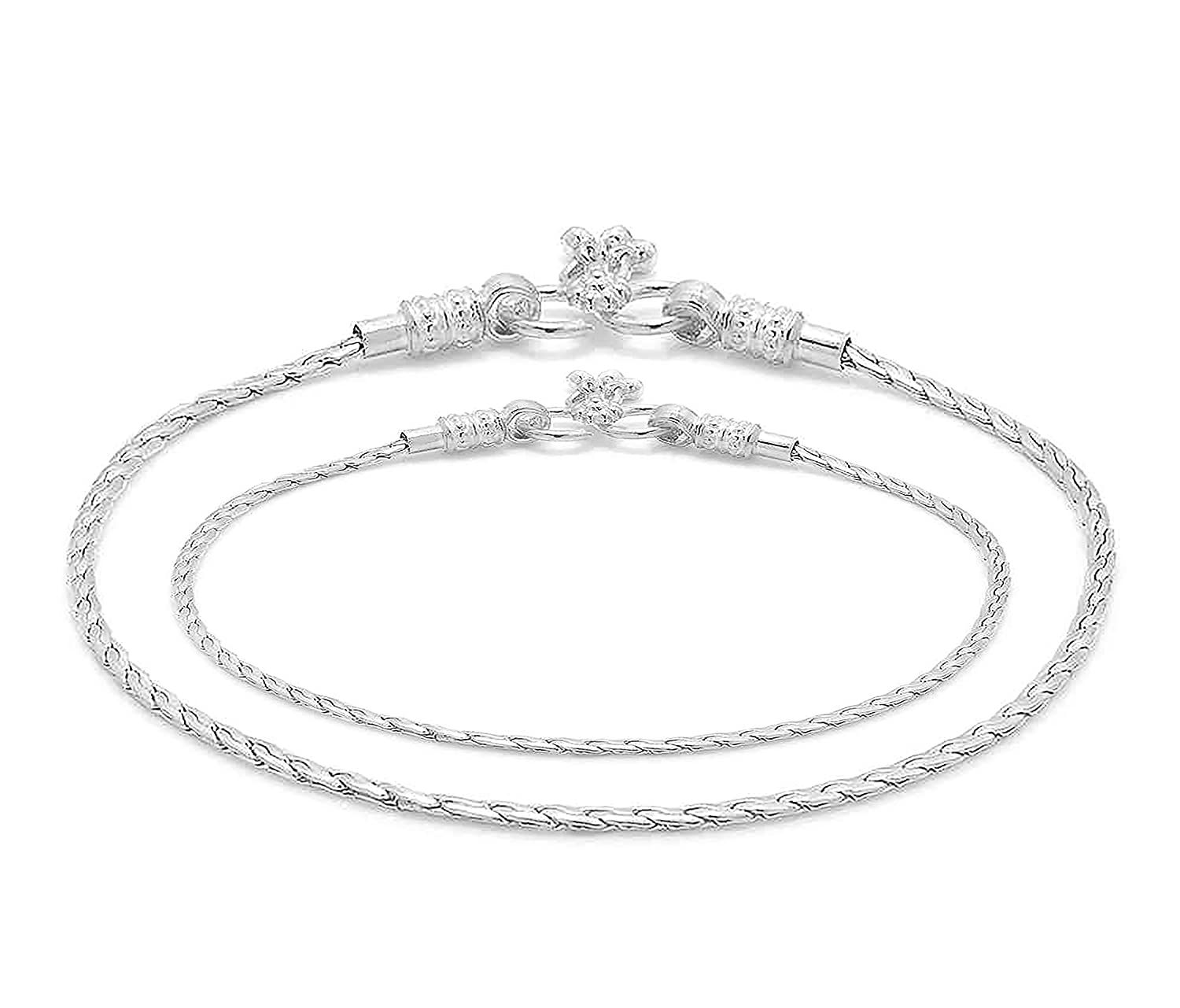 Women D/&D Crafts Sterling Silver Glossy Anklets For Girls