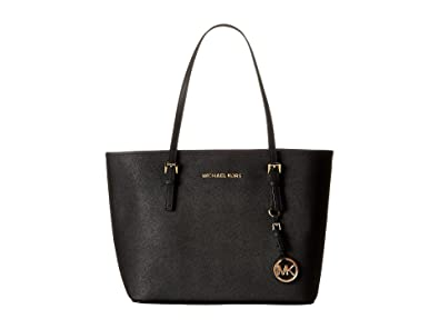 15a1491ac22e03 Michael Kors Jet Set Small Luggage Saffiano Leather Travel Tote (One Size,  Black)