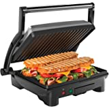Chefman Panini Press Grill and Gourmet Sandwich Maker Non-Stick Coated Plates, Opens 180 Degrees to Fit Any Type or Size of F