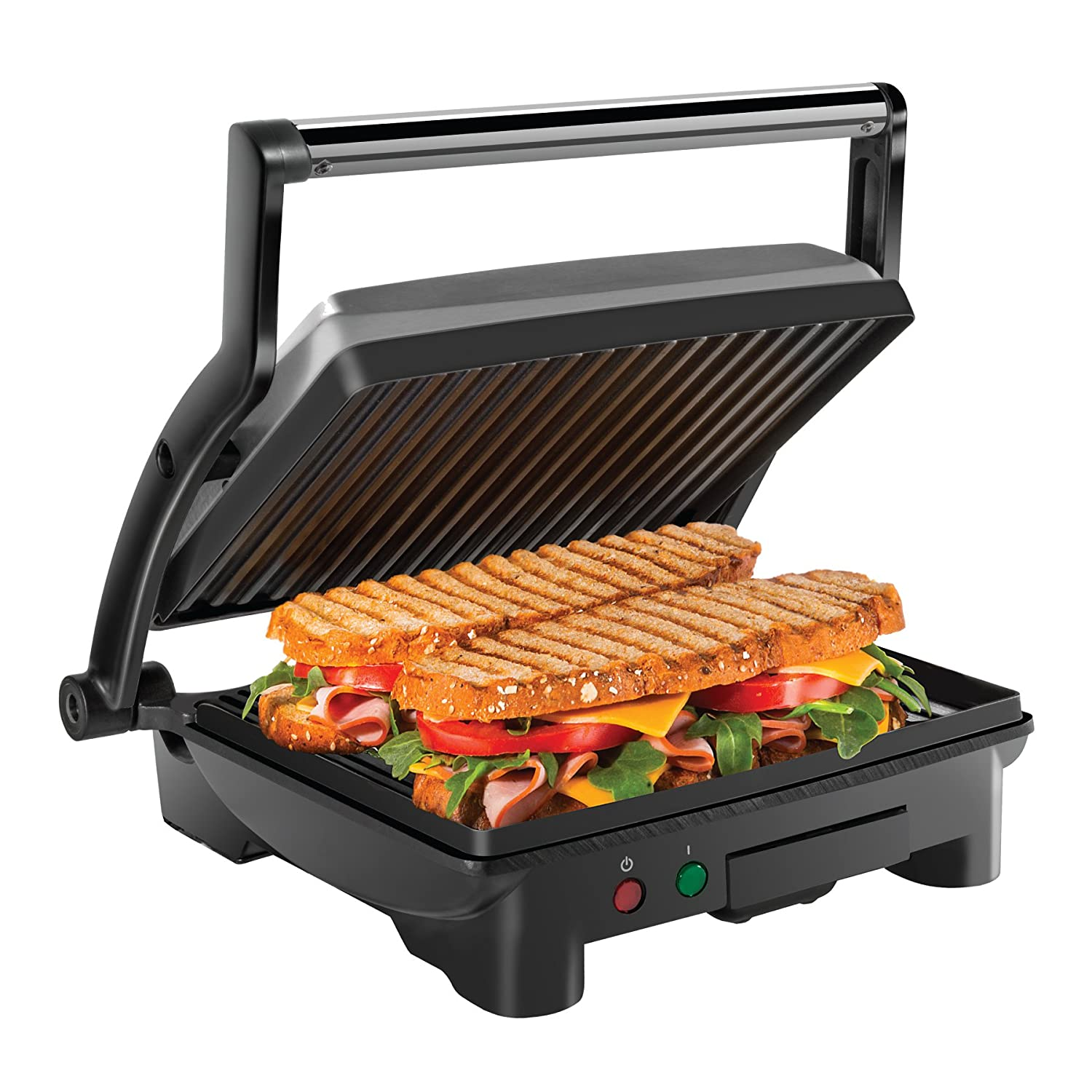 Chefman Panini Press Grill and Gourmet Sandwich Maker, Non-Stick Coated Plates, Opens 180 Degrees to Fit Any Type or Size of Food, Stainless Steel Surface and Removable Drip Tray - 4 Slice