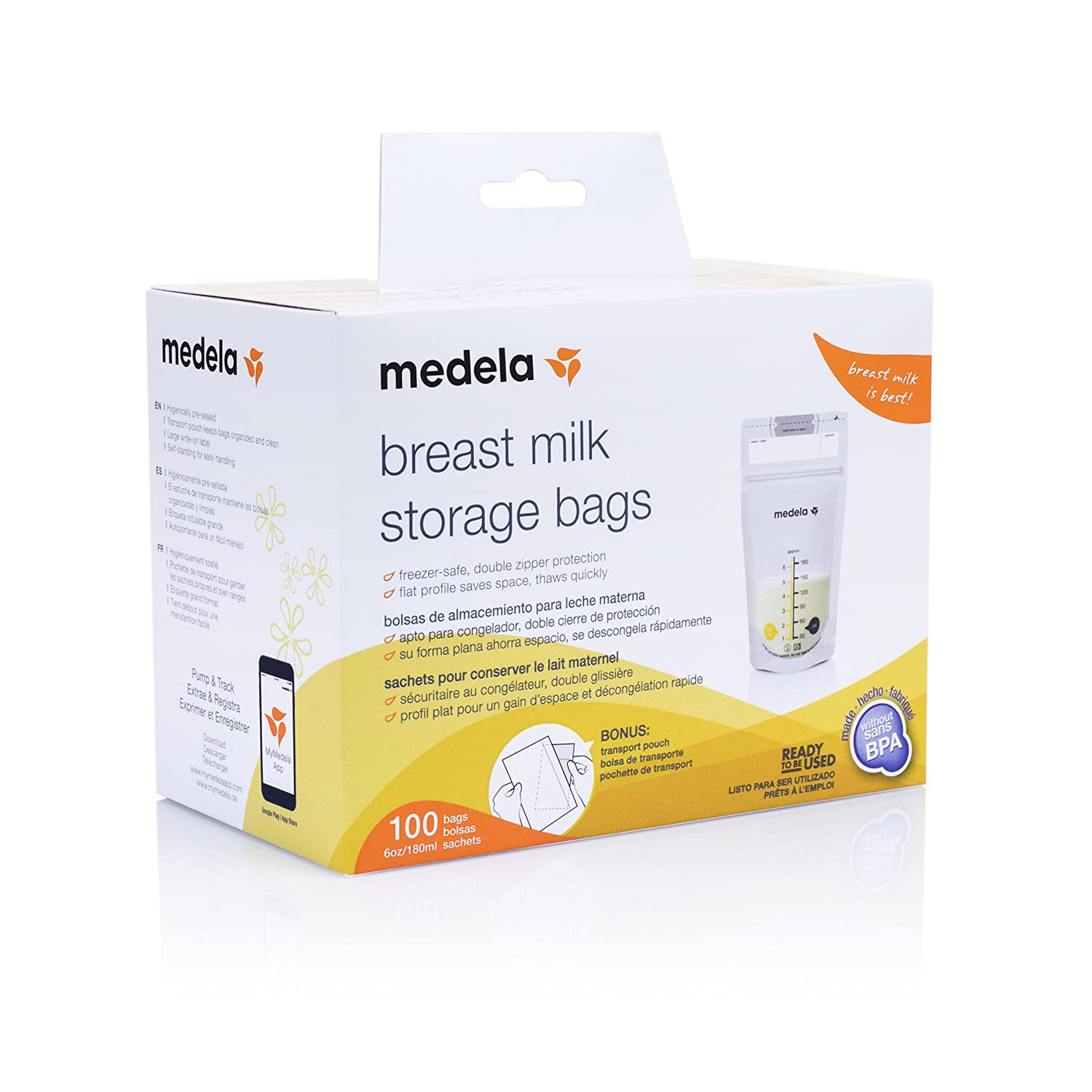 Medela, Breast Milk Storage Bags, Ready to Use, Milk Storage Bags for Breastfeeding, Self-Standing...