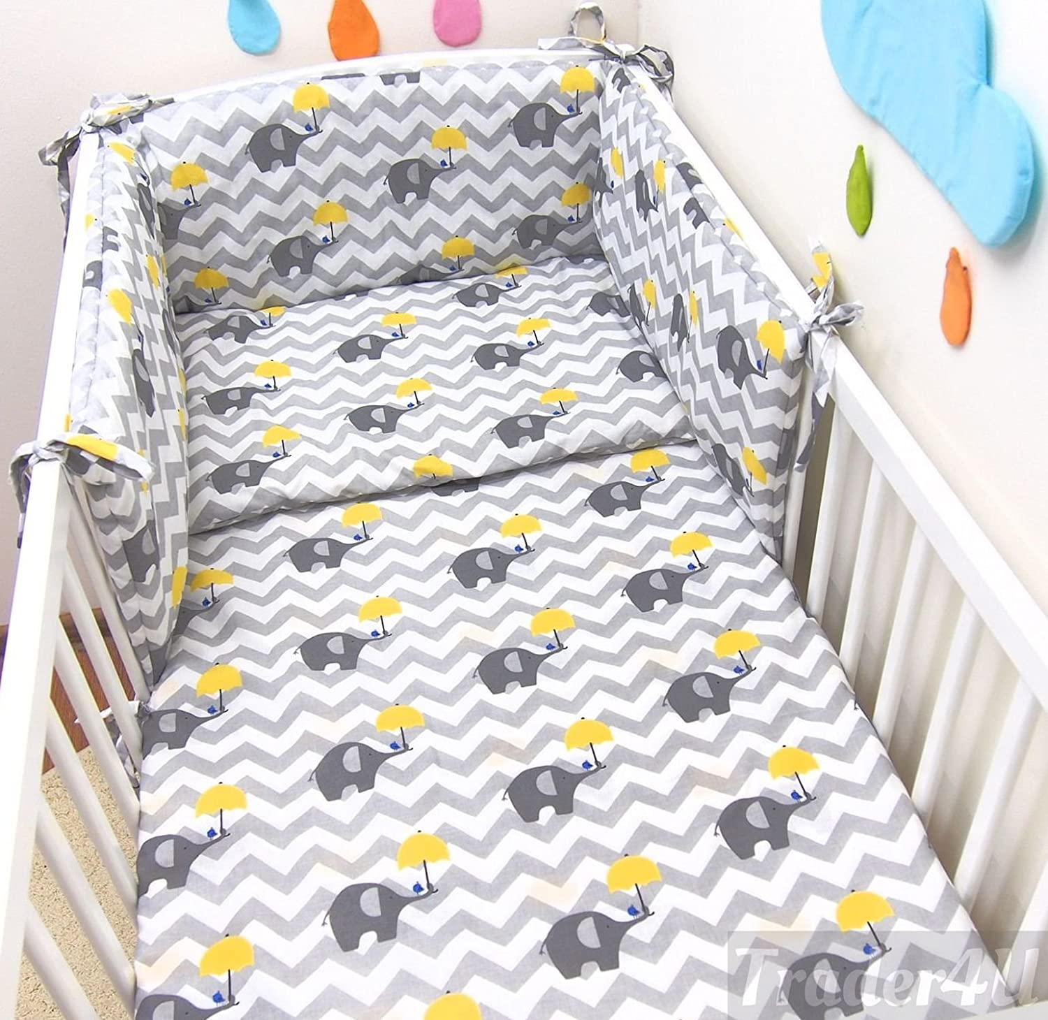 MillaLu 3 Pcs Baby Nursery Bedding Set fit to Cot 120x60cm or Cot Bed 140x70cm Padded Bumper Fit to Cot Bed 140x70 cm, White Elephants on Blue
