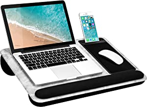 LapGear Home Office Pro Lap Desk with Wrist Rest, Mouse Pad, and Phone Holder -White Marble - Fits Up to 15.6 Inch Laptops - Style No. 91591