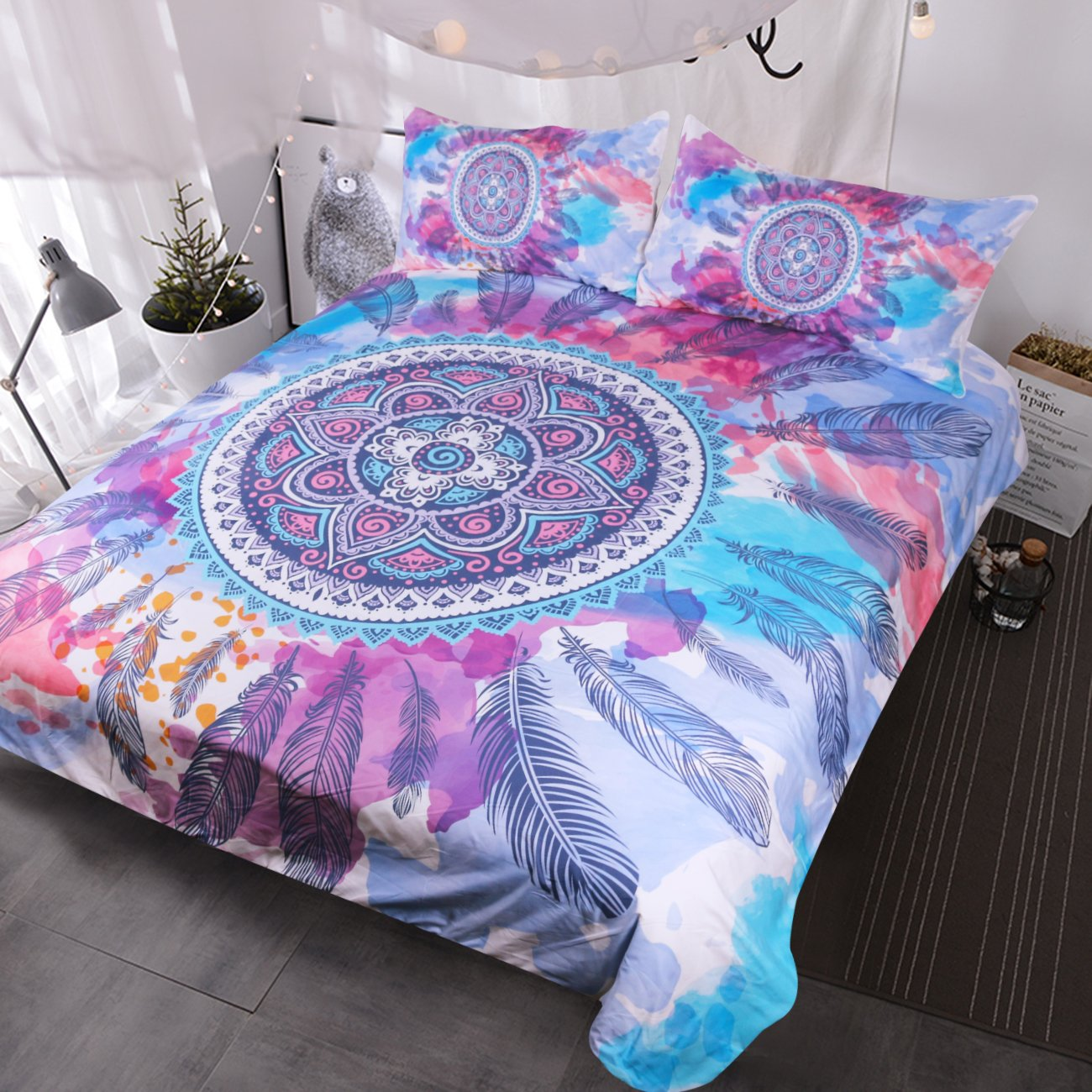 Blessliving Psychedelic Bedding Mandala Feathers Bed Set Pink Blue Purple Colored Hippy Duvet Cover Bedclothes (Full)