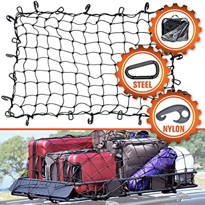 "3'x4' Super Duty Cargo Net, Bungee Net Stretches to 6'x8' for Oversized Rooftop Cargo Rack | 12 Tangle-Free Steel Carabiners + 12 Hooks | 3.5""x3.5"" Grid Holds Small & Large Loads Tighter: Automotive"