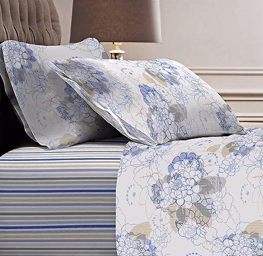 Juego de sábanas de franela para cama de matrimonio, 100% algodón ...