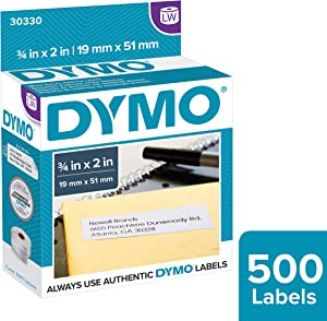 DYMO Authentic LW Return Address Labels for LabelWriter Label Printers, White, 3/4'' x 2'', 1 roll of 500