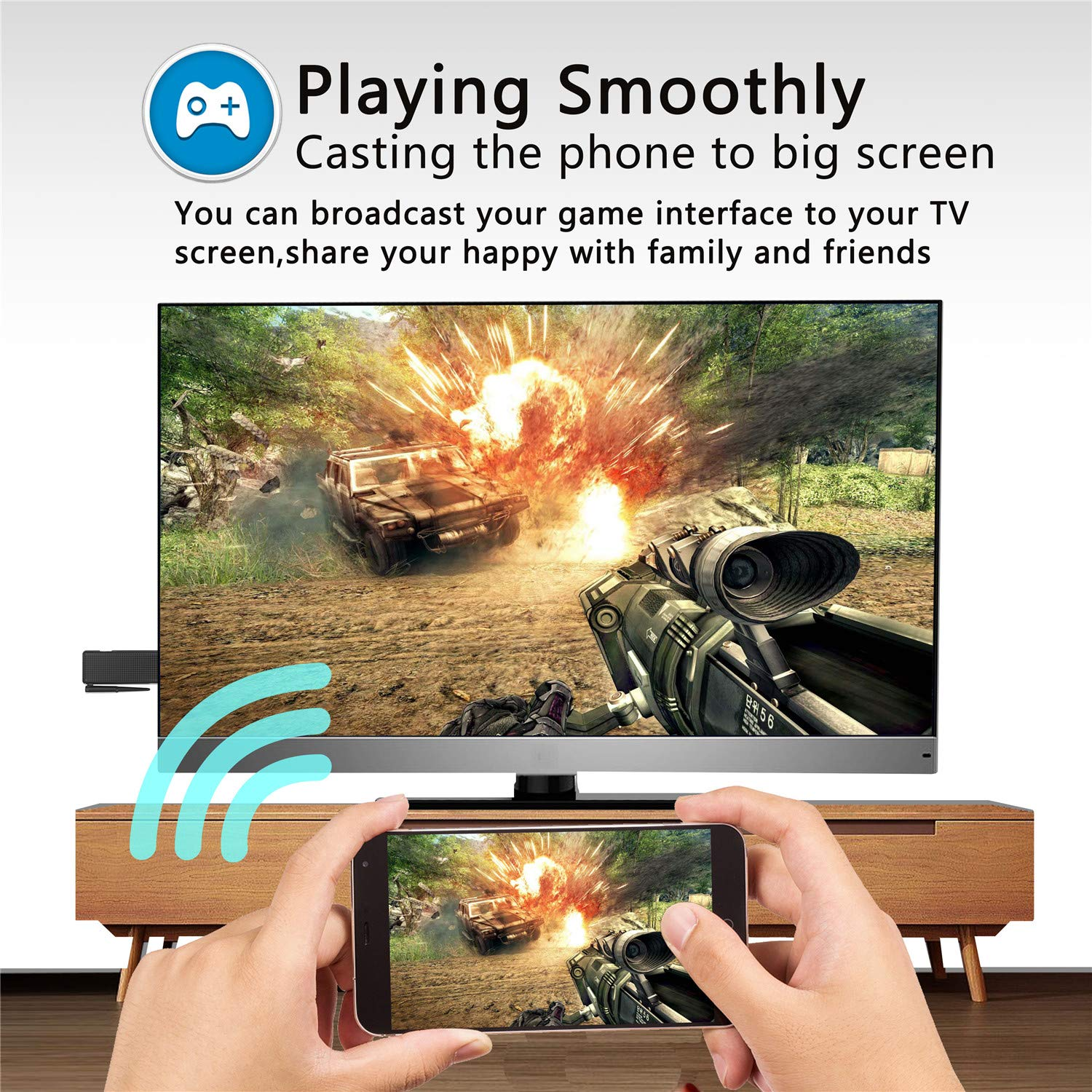 VICTONY Wireless And Wired 2 In 1 1080P WiFi Display Dongle, for TV,High Speed HDMI Miracast Dongle for Android/iOS Smartphone,Tablet,iPhone,iPad,Support AirPlay/Miracast / DLNA/Screen Mirroring by VICTONY (Image #5)