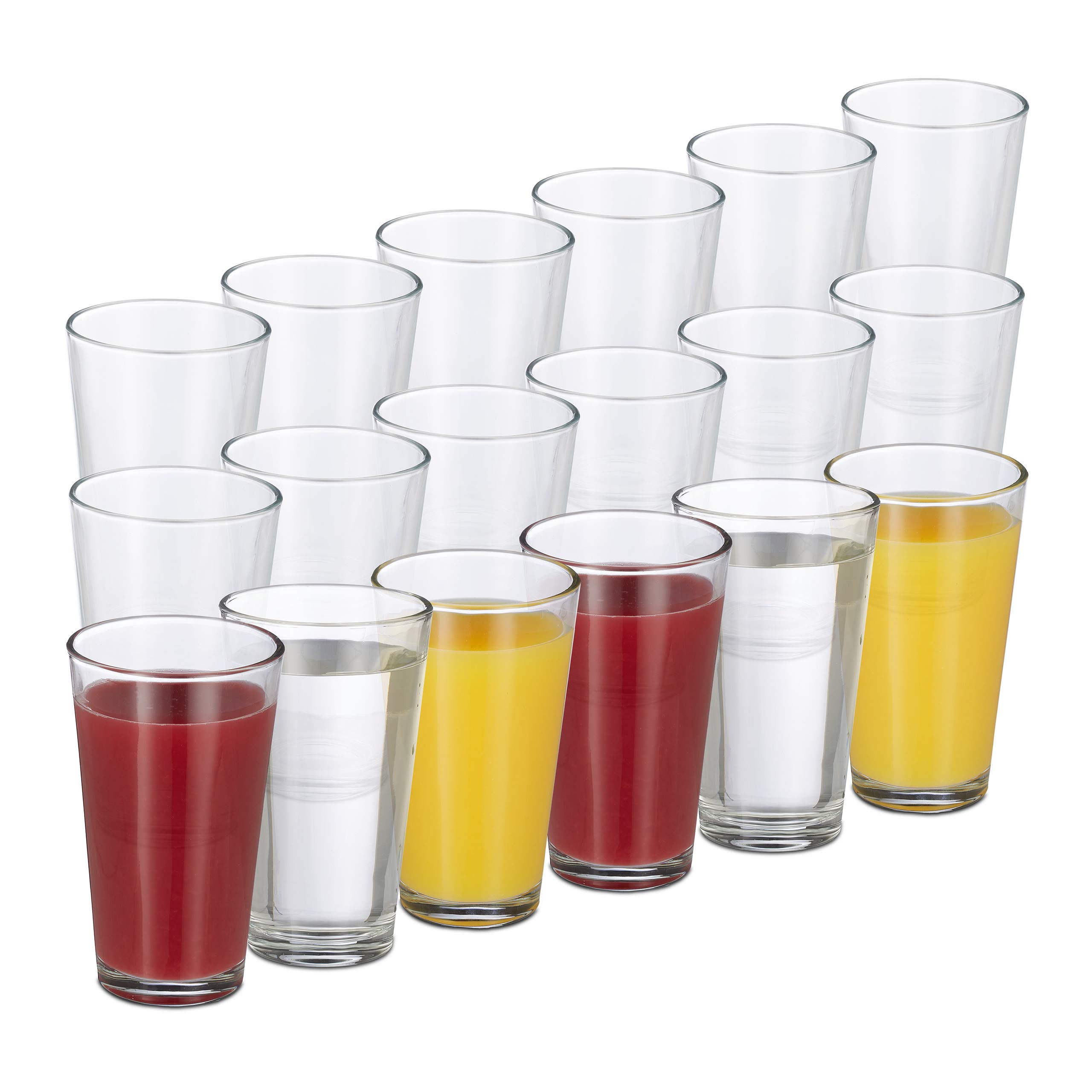 Relaxdays 10023413 Set of 18 Drinking Glasses Thick-Walled Water Glasses Simple Design Dishwasher Safe 500 ml Transparent Glass by Relaxdays