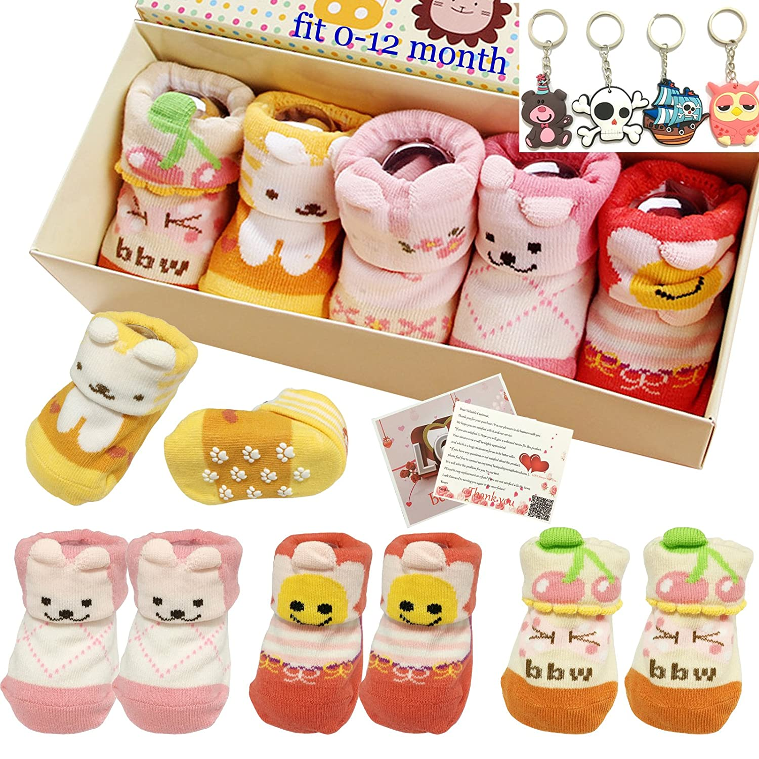 Fly-love® 5pairs 0-18 months Girls Animal Non-Skid Anti Slip Toddler Baby Socks Infant Newborn Cotton Ankle Sock With Cute Box R013