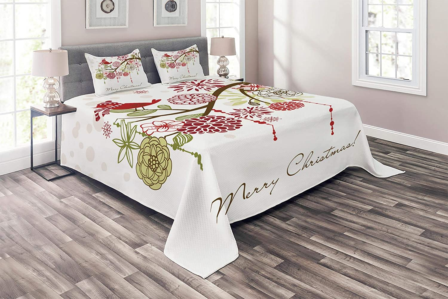 Ambesonne Christmas Coverlet, Floral Winter Red Bird Hat and Scarf on Blooming Tree Nature Inspired, 3 Piece Decorative Quilted Bedspread Set with 2 Pillow Shams, King Size, White Green