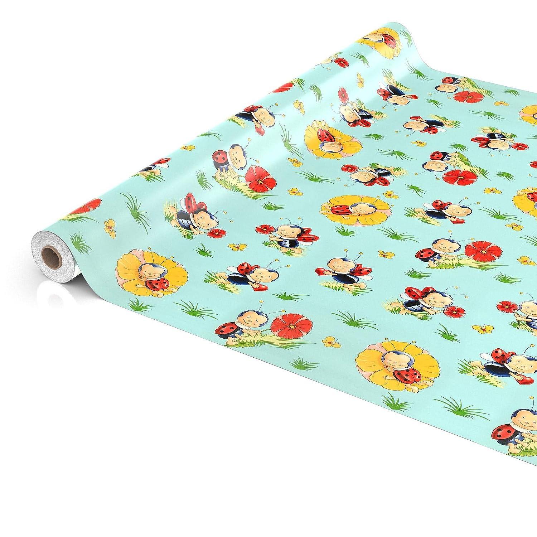 Asciugamani Rolle 20mx140cm ANRO Tela Cerata tovaglia Cerata tovaglia Lavabile Bambini Coccinella Blu Rotondo 100/cm