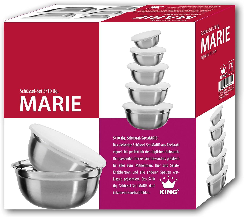 5 pezzi Set di ciotole in acciaio inox con coperchio in plastica King S6731S Marie