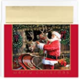 """Masterpiece Studios Holiday Collection 18-Count Boxed Christmas Cards with Foil-Lined Envelopes, 7.8"""" x 5.6"""", Santa and Reind"""