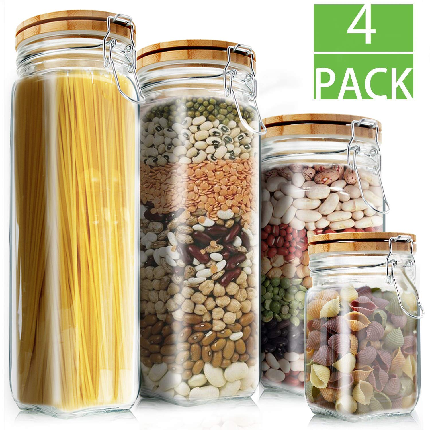 e16eeff9f Amazon.com  Food Storage Containers Set Kitchen Storage Jars Elegant Life  Clear Glass Airtight Canister Set with Airtight Clamp Caps(4 Packs