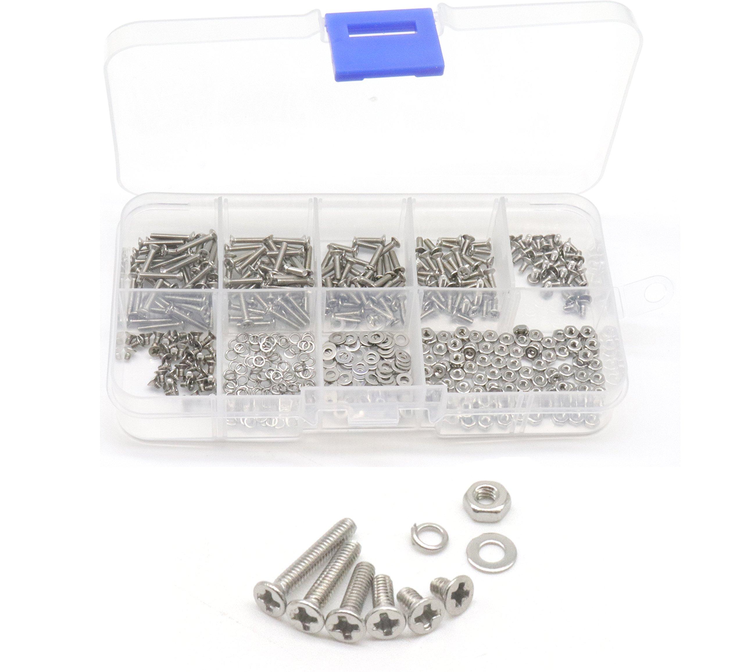 cSeao 540pcs M2 Flat Phillips Machine Screws Washers Nuts Assortment Kit, 304 Stainless Steel