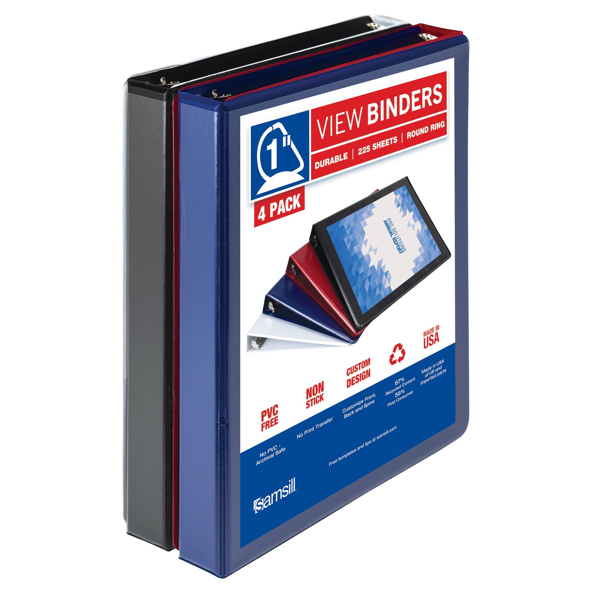Samsill Durable 3 Ring View Binders, 1 inch D-Ring - Holds 250 Sheets, PVC-Free/Non-Stick Customizable Cover, Black, White, Blue, Red, 4 Pack by Samsill