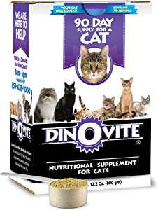 Dinovite for Cats Supplement - Immune + Digestive, Skin + Coat Support, Vitamins, Minerals, Omega 3, Enzymes, Probiotics. Reduces Shedding, Dry Skin, Itching, Stinking, Bald Spots, Seasonal Issues