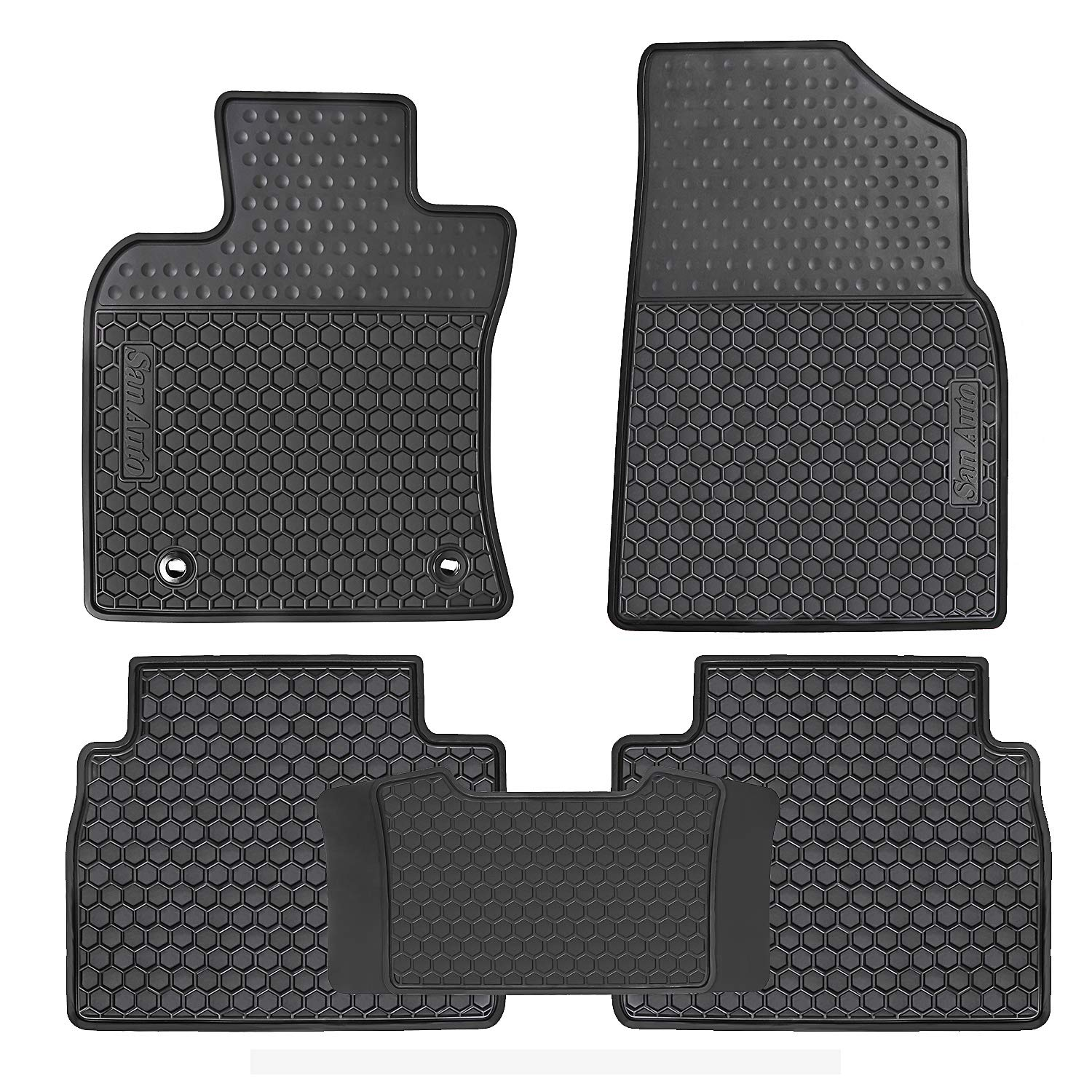 HD-Mart Custom Fit for Toyota Camry 8th 2018 2019 Car Floor Mats Rubber Full Black All Weather Season Heavy Duty Odorless
