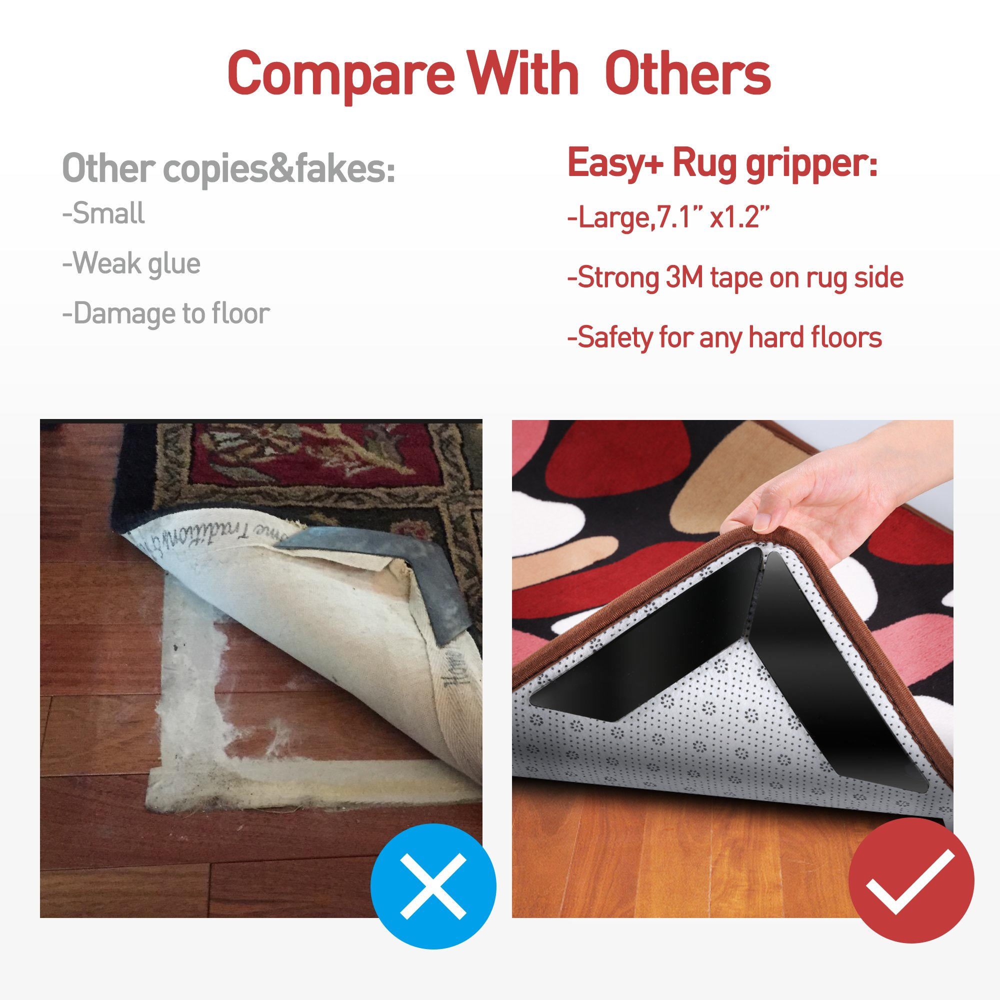 FaayFian 8pcs Large Anti Curling Rug Gripper, Keeps Your Rug in Place & Makes Corners Flat, Carpet Gripper with Renewable Gripper Tape, Ideal Anti Slip Rug Pad for Your Rugs by FaayFian (Image #4)