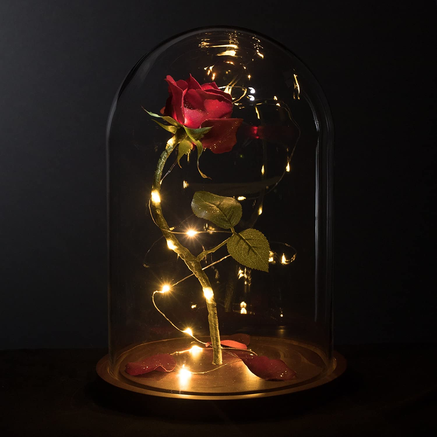 Amazon Com Magicprincesswhitney Enchanted Rose Life Sized 13 Led Beauty And The Beast Rose Lasts Forever In Glass Dome Belle Wedding Anniversary Christmas Mother S Day Quinceanera Magic Princess Whitney Furniture Decor