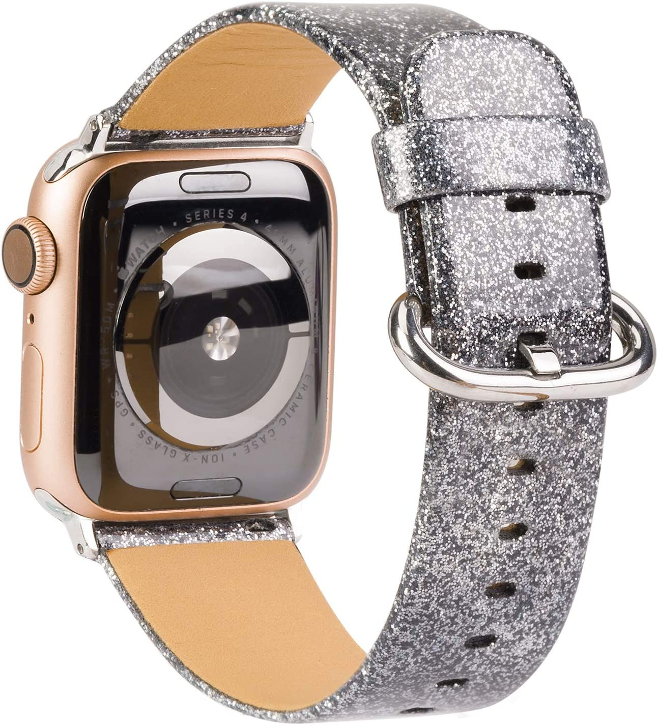 TOYOUTHS Glitter Leather Bands Compatible with Apple Watch Bands Rose Gold 38mm 40mm Womens Bling Diamond Dressy Genuine Shiny Strap for iWatch Series 5 4 3 2 1