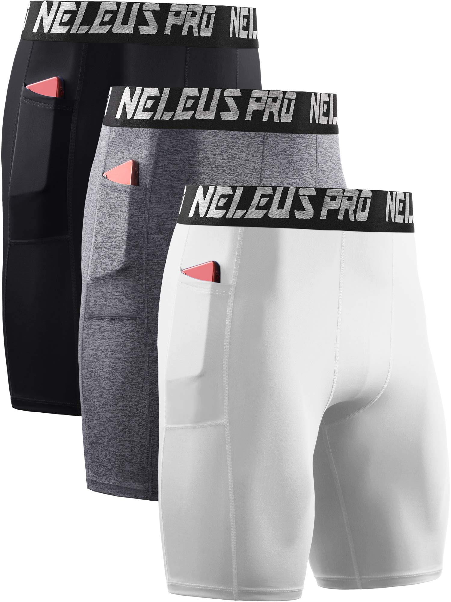Neleus Men's 3 Pack Compression Shorts with Pockets,6063,Black/Grey/White,US S,EU M by Neleus