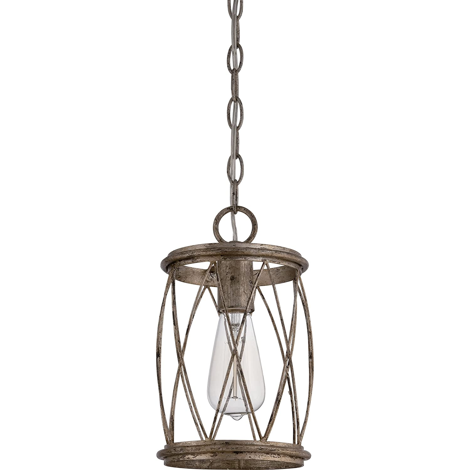 Stone Beam Modern Farmhouse Glass Cylinder Pendant Light Fixture With Light Bulb – 4.75 Inch Shade, 10 – 58 Inch Cord, Oil-Rubbed Bronze