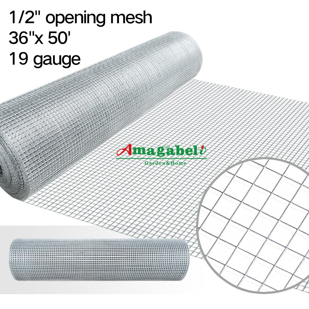 Amazon.com: 36inx50ft 1/2 in 19gauge Hardware Cloth Galvanized ...