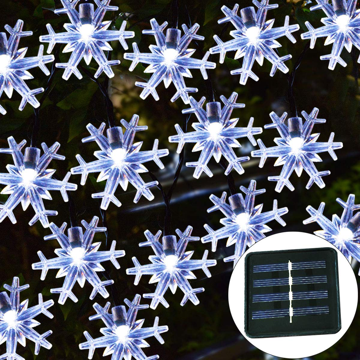 Windpnn Solar Christmas Lights Outdoor,50LED 30.6ft Waterproof Solar Christmas Snowflake String Lights