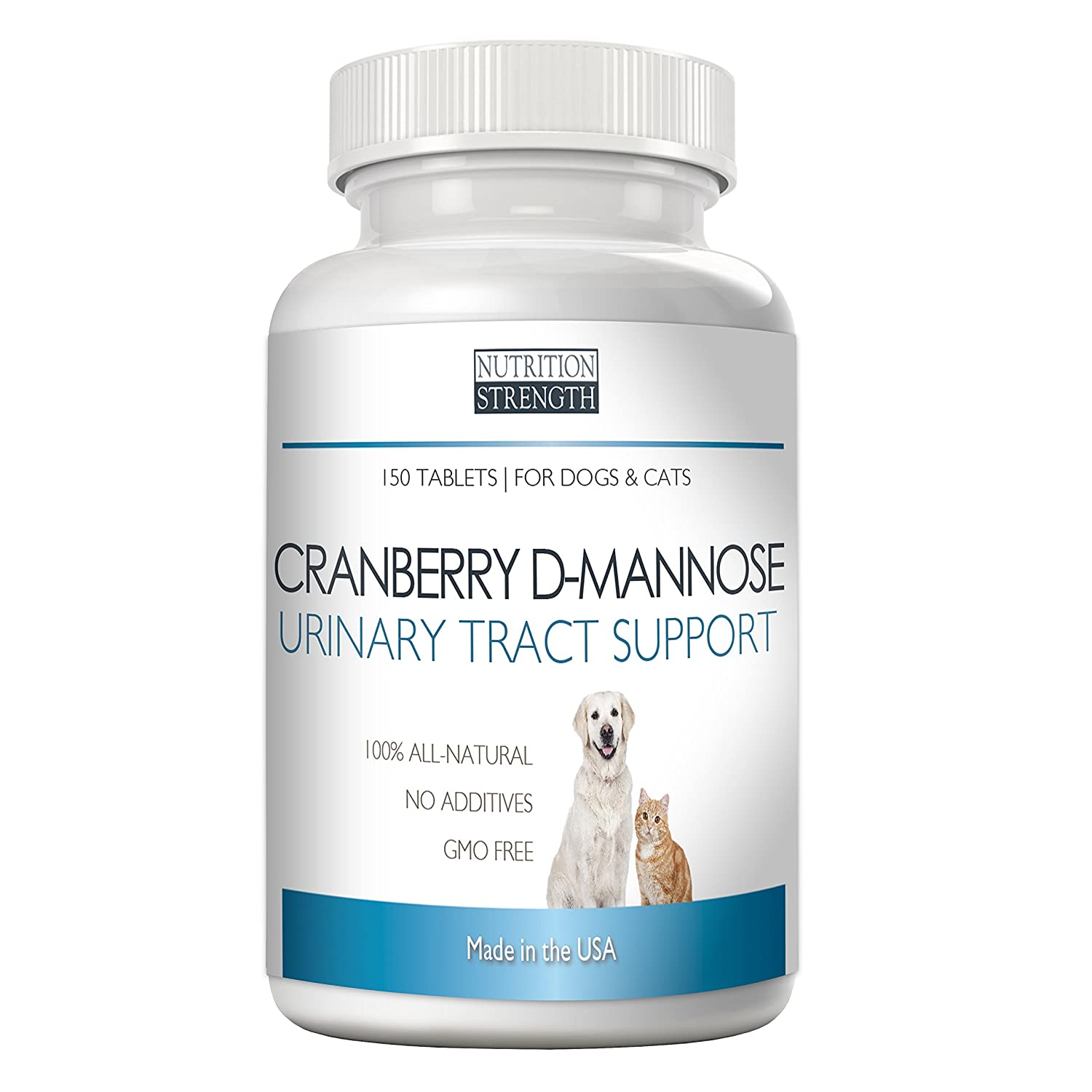 Cranberry D-Mannose Antioxidant, Urinary Tract Support for Dogs and Cats, Prevents and Eliminates UTI, Nutrition Strength, 150 Chewable Tablets