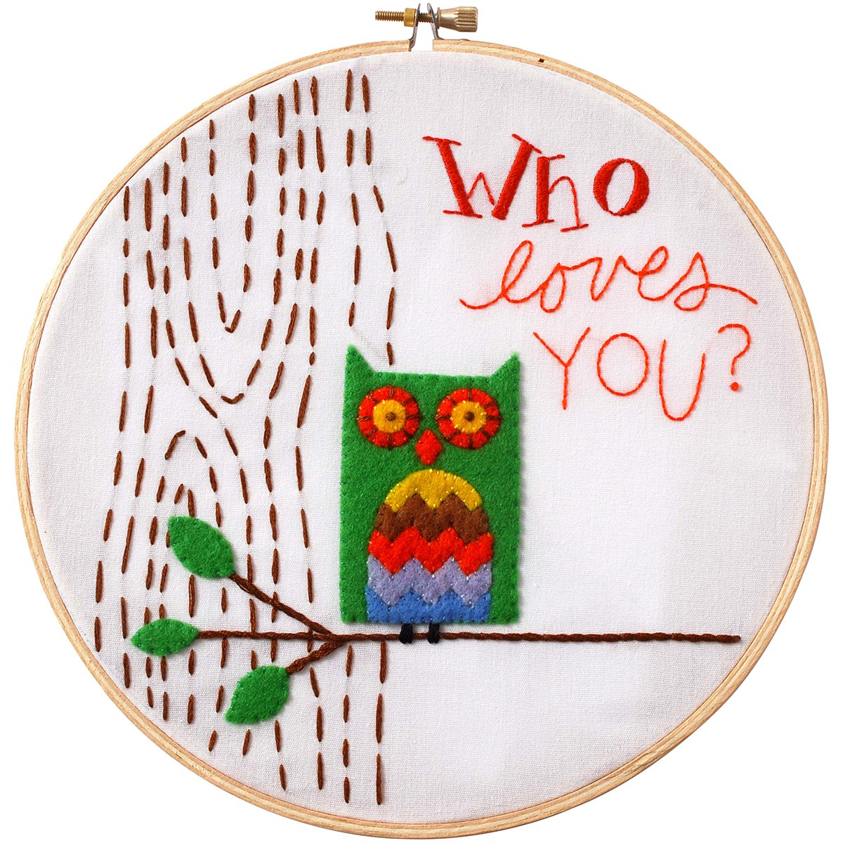 Stamped Embroidery Kit-8 Round Who Loves You