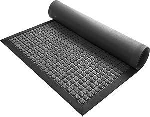 DEXI Durable Front Door Mat, Waterproof, Low-Profile, Heavy Duty Doormat for Indoor Outdoor, Easy Clean Rug Mats for Entry, Patio, Busy Areas, 17X29, Squares Grey
