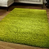 Think-Louder Luxury Shaggy Rug Runner Non Shed Carpet Thick & Soft in With Non Slip Gripper Underlay - LIME GREEN120X170 CM