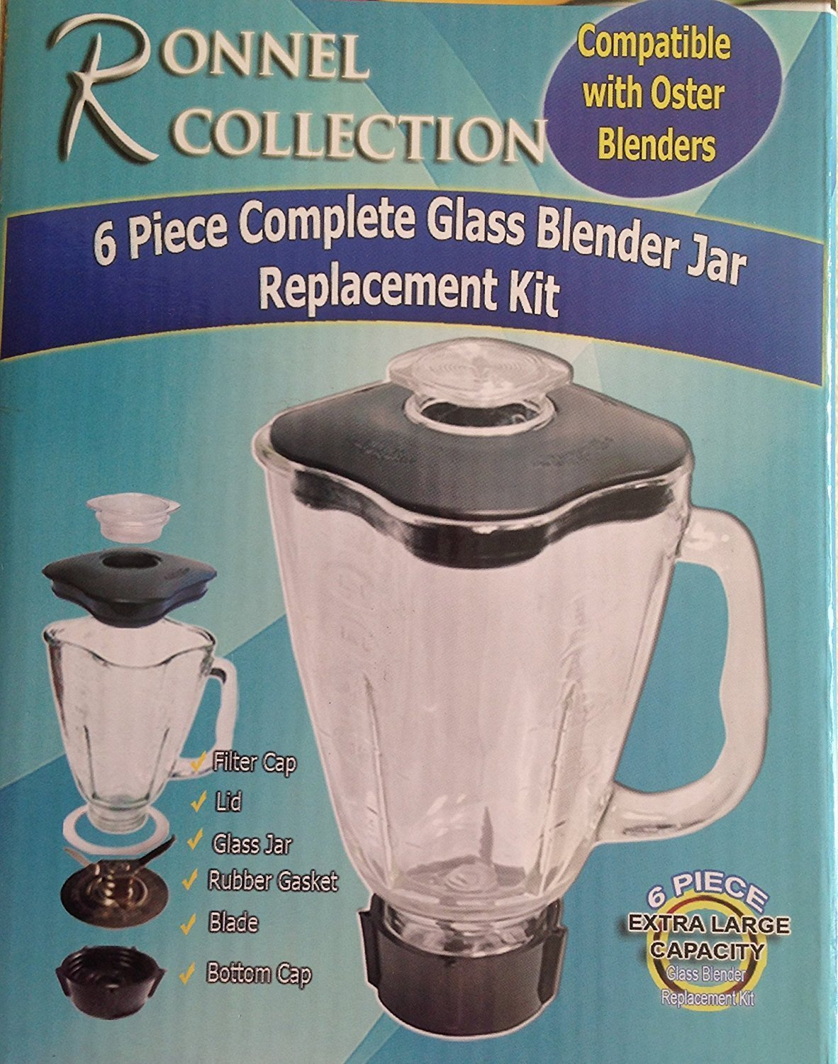 Amazon.com: Ronnel Collection 6-Piece Square Glass Blender Jar ...