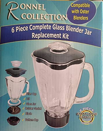 Amazon.com: Ronnel Collection 6-Piece Square Glass Blender Jar Replacement Kit for Oster Blender, 1.25 Liter – 5.5 Cup: Kitchen & Dining