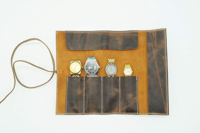 90aa225975b9e Amazon.com: Handmade Leather watch roll travel watch roll leather ...
