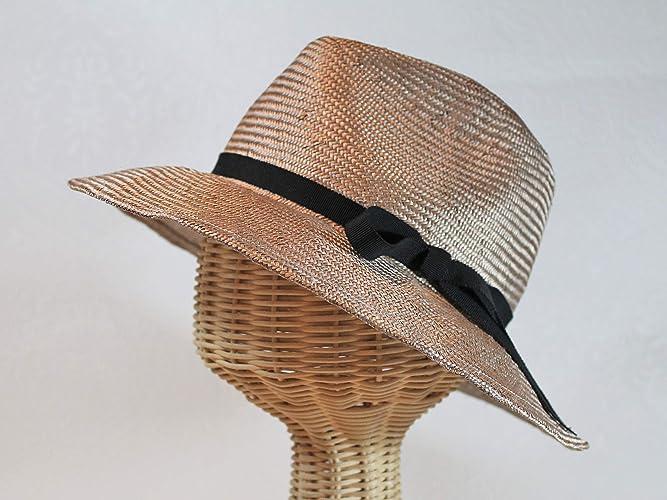 395fd07a27b Amazon.com  Custom Made Hepburn Wide Brim Parasisal Straw Fedora Sun Hat   Handmade