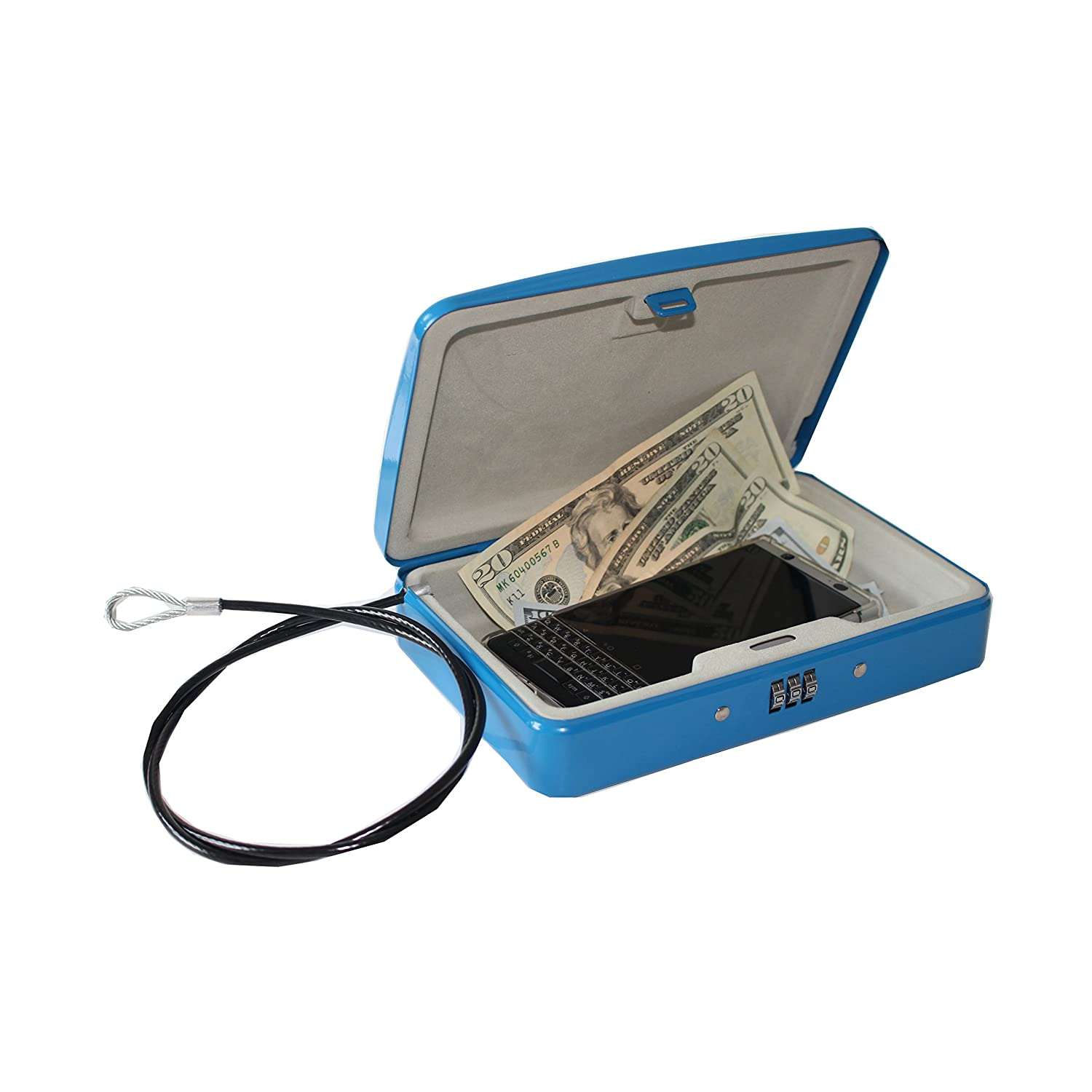 SEPOX Cash Box with Money Tray, Steel Lock Box with Key Medium, Blue Haining SuperLock Co