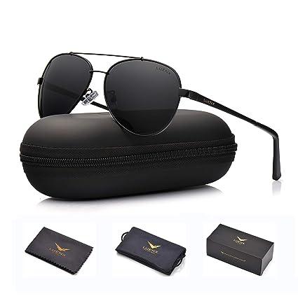 ead3f682395 LUENX Men Women Aviator Sunglasses Polarized Non-Mirror Black Lens Black  Metal Frame with Accessories