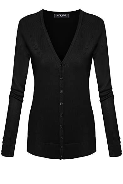 ACEVOG Women Button Down Long Sleeve Basic Knit Cardigan Sweater ...