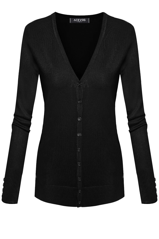 ACEVOG Women Button Down Long Sleeve Basic Knit Cardigan Sweater Tops Knitwear