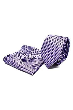 Corbata de hombre, Pañuelo de Bolsillo y Gemelos Púrpura a Rayas ...