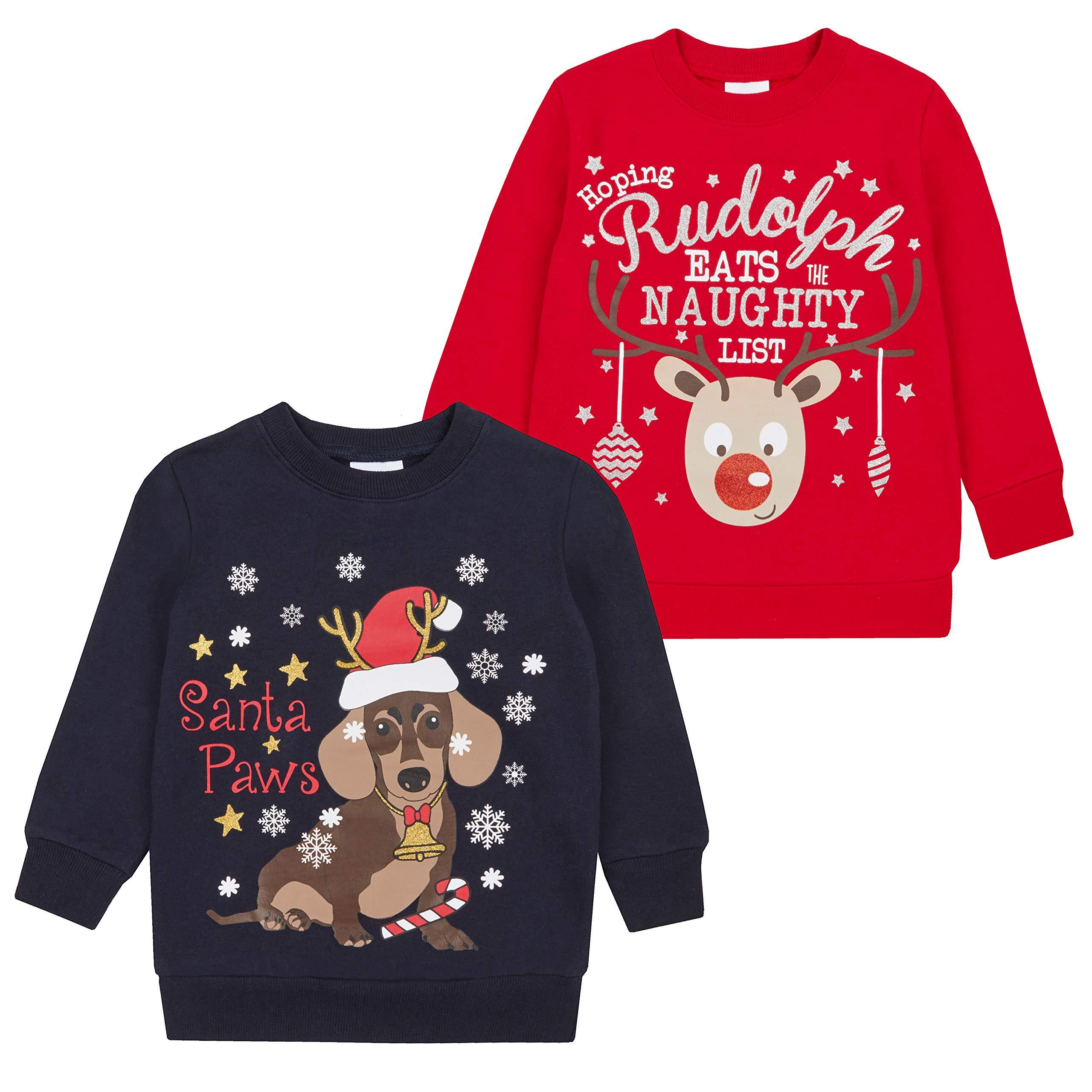 Metzuyan Children's Unisex Novelty Christmas Printed Sweater Santa Paws & Rudolph 4-5 Years