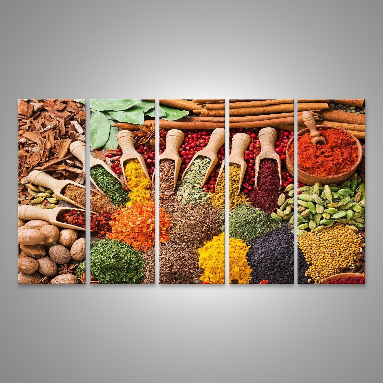 islandburner Tableau Tableaux sur Toile Composition colorée avec diverses épices et Fines Herbes