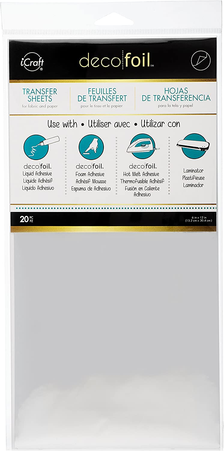 """6/"""" x 12/"""" iCraft Deco Foil Transfer Sheets Gold 20 Piece"""