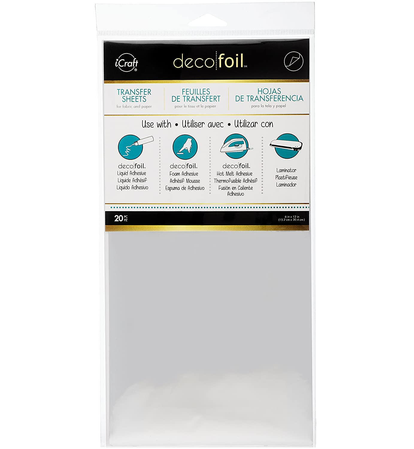 Silver 6 x 12 20 Piece iCraft Deco Foil Transfer Sheets