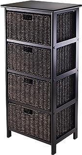Winsome Omaha Storage Rack with 4-Foldable Basket  sc 1 st  Amazon.com & Amazon.com: VonHaus 4 Tier Small Seagrass Basket Storage Tower Unit ...