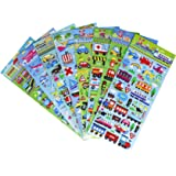Transportation Stickers 8 Sheets with Car, Airplane, Steamship, Train, Motorcycle - PVC Transportation Stickers for Kids - 320 Stickers