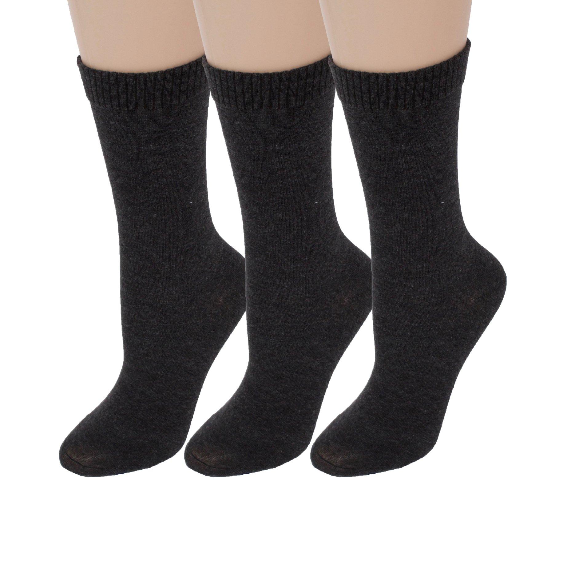 Diabetic Socks | Womens Grey Crew 3 Pack | Seamless Toe | Non-Binding Top | Sock Size 9-11 | Improve Foot Health Comfort Circulation for Diabetes, Varicose Veins, Maternity Pregnancy